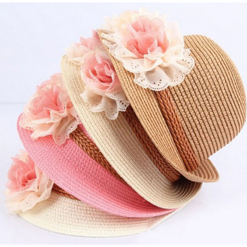 Free Shipping New Fashion Sun Hat Baby Girl Summer Straw Hats For Children Beach Headwear 4 Colors Top Quality Wholesale(China (Mainland))