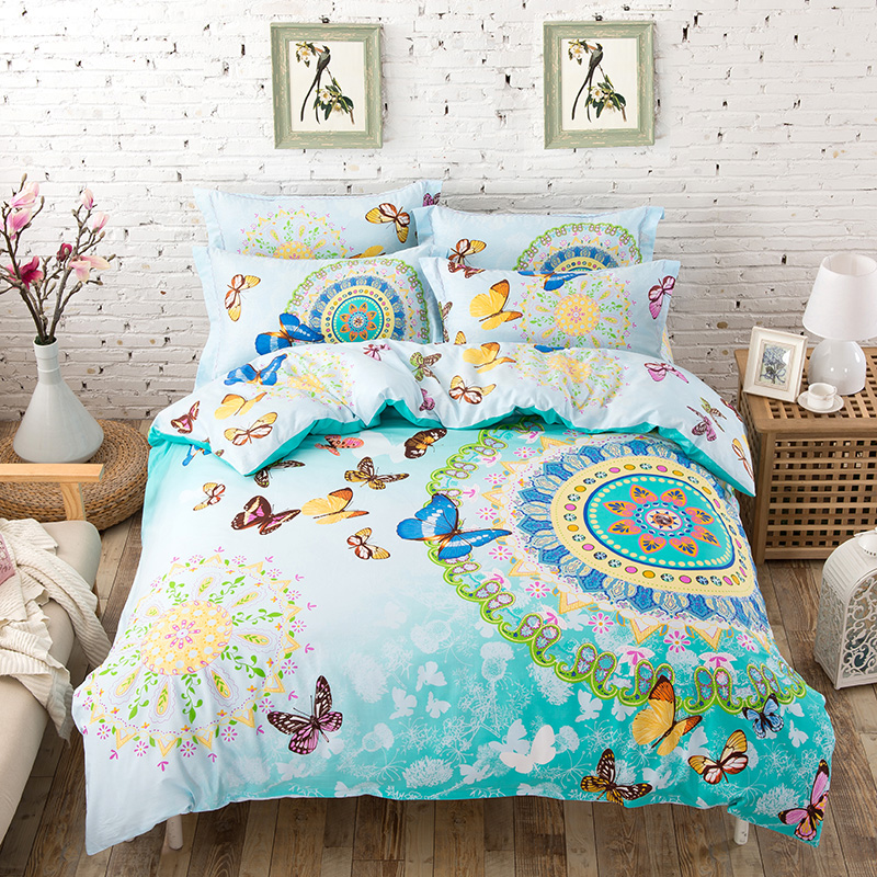 unihome 100 cotton bohemian boho style pink butterfly bedding set girlsbutterfly cartoon print. Black Bedroom Furniture Sets. Home Design Ideas