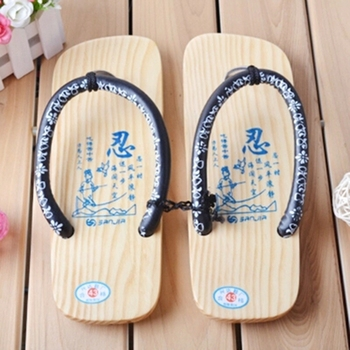 MEN's GETA Japanese SAMURAI Clogs Wood Sandals Men Clogs Shoes Wooden Flip Flops Slippers Cool Shoes Geta Sandals