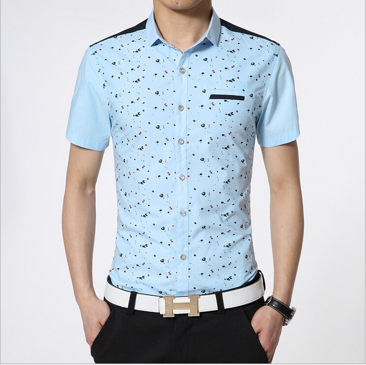 Men Floral Prints Shirt Button Up One Chest Pocket Slim