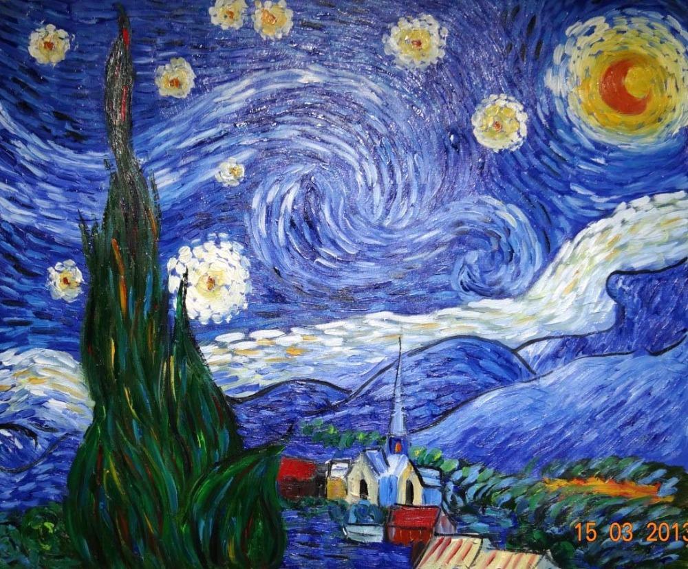 Van gogh notte stellata riproduzione acquista a poco for Dipinto di van gogh notte stellata