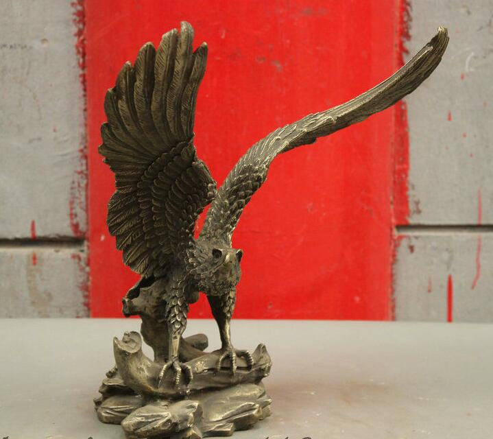 "88007008<<<12"" Chinese FengShui 100% Pure Bronze Eagle Hawk Spread the Wings Falcon Statue(China (Mainland))"