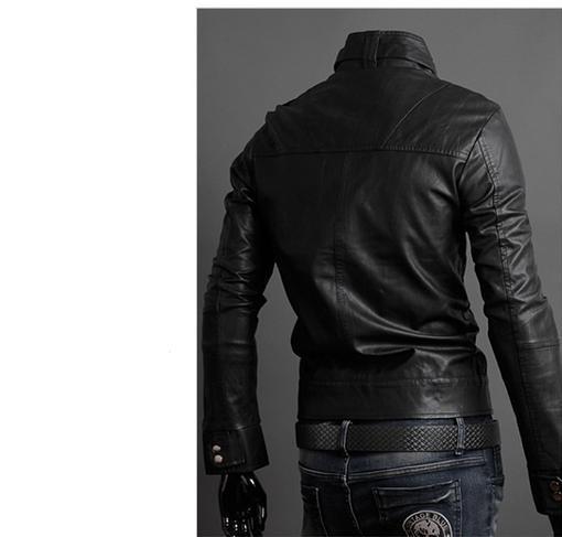 2015 The New Spring Multi zipper Buckle collar Coat Men s Leather Jacket Men Slim Handsome