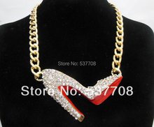 New Arrival 2014 Free Shipping 18K Gold Filled Chunky Chain Rhinestone Red Sexy High Heel Shoe Stiletto Chain Necklaces&Pendants(China (Mainland))