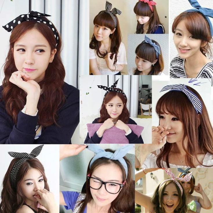 1Pcs Cute Korean Dots Bunny Rabbit Ear Ribbon Headwear Hairband Metal Wire Scarf Headband Hair Band Accessories Headwear-0050(China (Mainland))