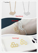 2015 New Fashion Jewelry Gold/Silver Plated Hexahedron Pendant Necklace Chain Bracelet Stud Earrings For Women Stainless Steel(China (Mainland))