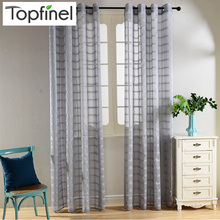 Top Finel Plaid Sheer Curtains for Living Room Bedroom Tulle Curtains for Kitchen Window Yarn Curtains Drapes Window Treatments(China (Mainland))