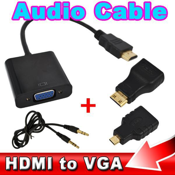 2015 1080p Converter HDMI to VGA with Audio Cable + 2 Micro Mini HDMI Connector Adapter For HD HDTV PC Laptop Notebook Monitor(China (Mainland))