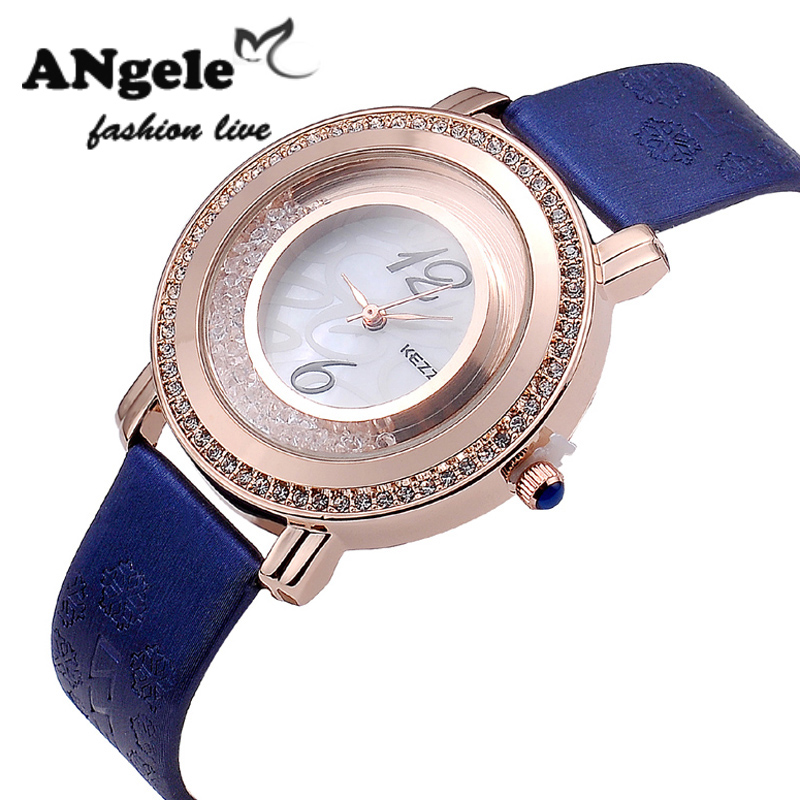 Luxury Waterproof Leather Quartz Wristwatches Japan Movement Inlaid Rhinestone Mobile Crystal Dial Female Watch Hour Date Clock(China (Mainland))