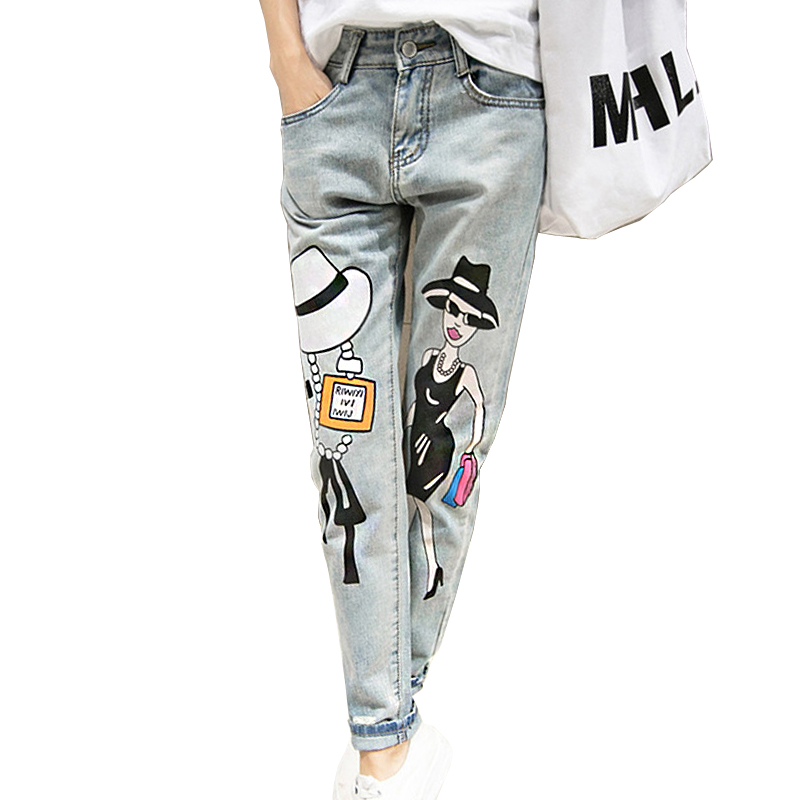 2016 Hot Fashion Summer Women Slim Jeans Grey Denim Pencil Pants Mid Waist Skinny High Stretch Girl Pattern Full Length Trousers