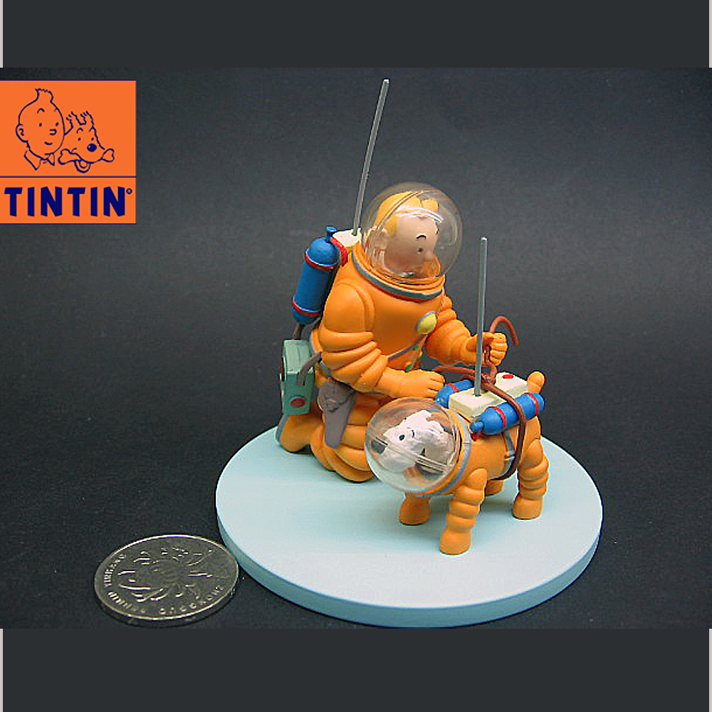 The Adventures of Tintin On Moon Explorers With Dog SNOWY Figure in Original Box