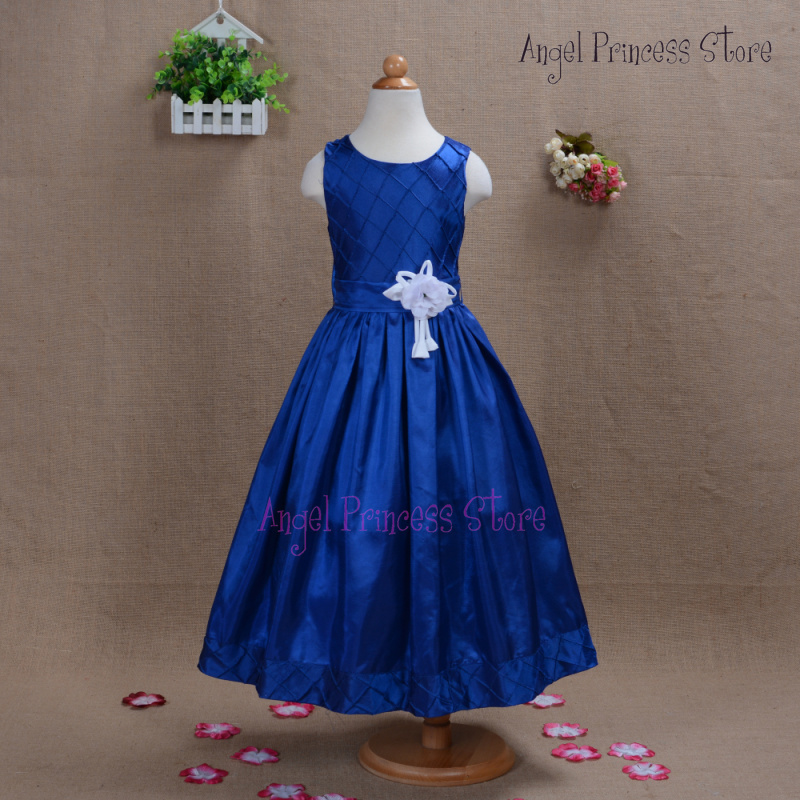 A32 Top Quality 2015 New Holy Communion Bridesmaid Flower Girls Dress princess Party pageant Fomal dress white Dark blue(China (Mainland))