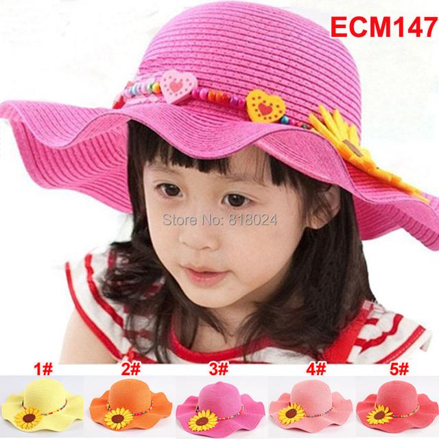 Лето шляпа большой краев девочки дети пляж шляпы солнца цветок солома солнца шляпа кепка младенцы козырек