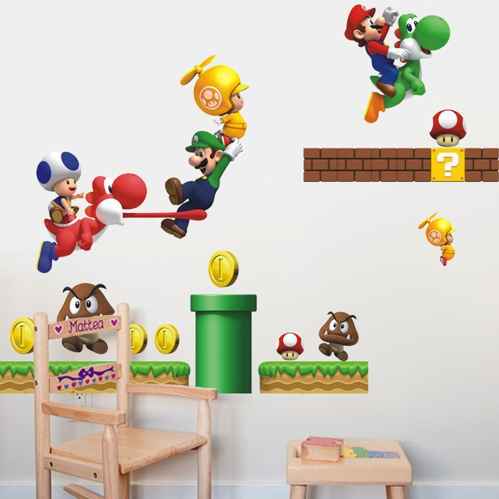 Diy mario wall sticker for kids room cartoon wall stickers for Vinilos para pared de ninos
