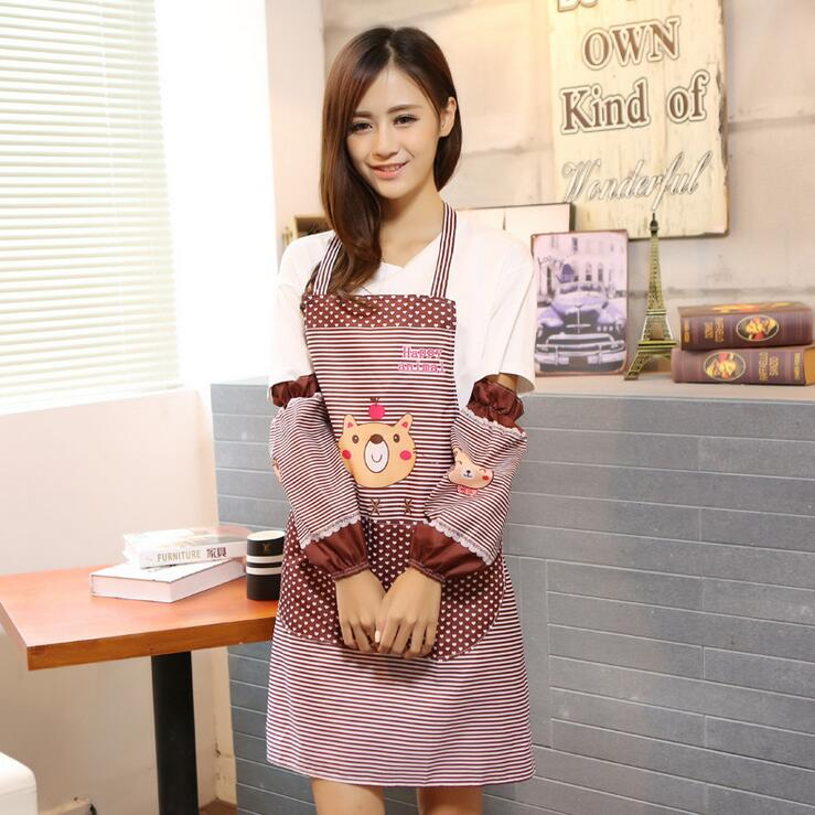 Bear apron Han edition shoulder belt type sleeveless Household apron Pure color waterproof and oil Simple fashion cute(China (Mainland))