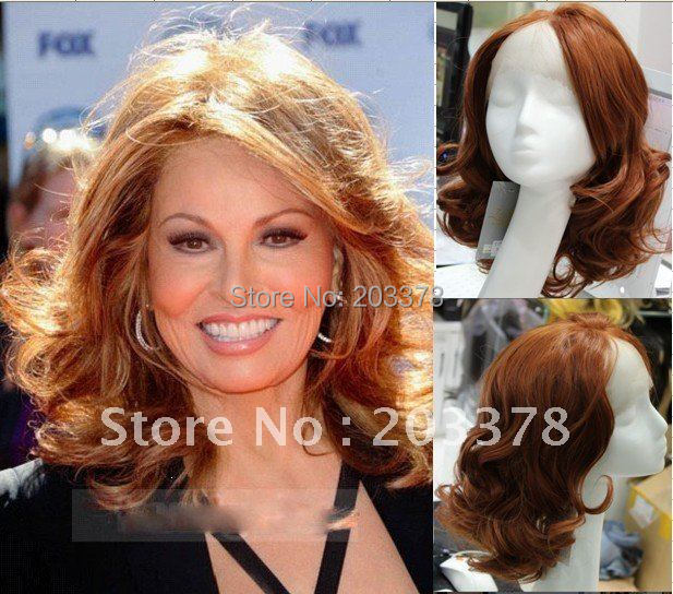 Free Shipping High Quality Synthetic new Star hairstyle Natural Lace Front Short Wavy Auburn Wigs