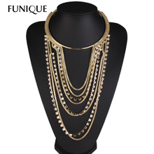 FUNIQUE Women Torques Necklaces multilayer Rhinestone Necklaces Tassel Chunky Necklace Collar 1PC(China (Mainland))
