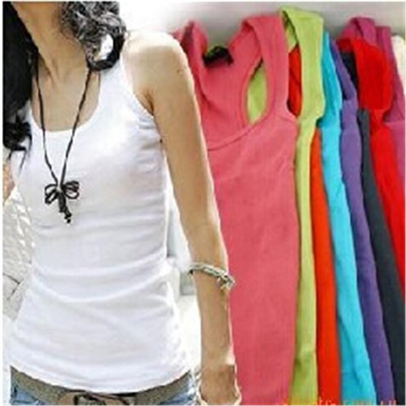 2016 Hot Sale Casual Summer Wild Women's Sleeveless Tank Tops Cami Cotton No Sleeve T-Shirt Vest(China (Mainland))