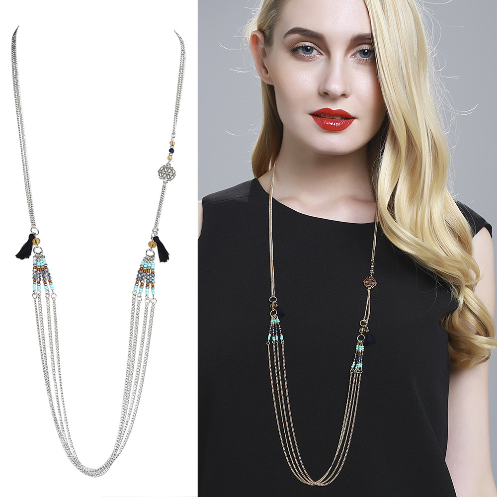Fashion Street Shoot Retro Elements Coin Evil Eye Europe And America Cross Sequined Turquoise Beads Multilayer Necklaces(China (Mainland))
