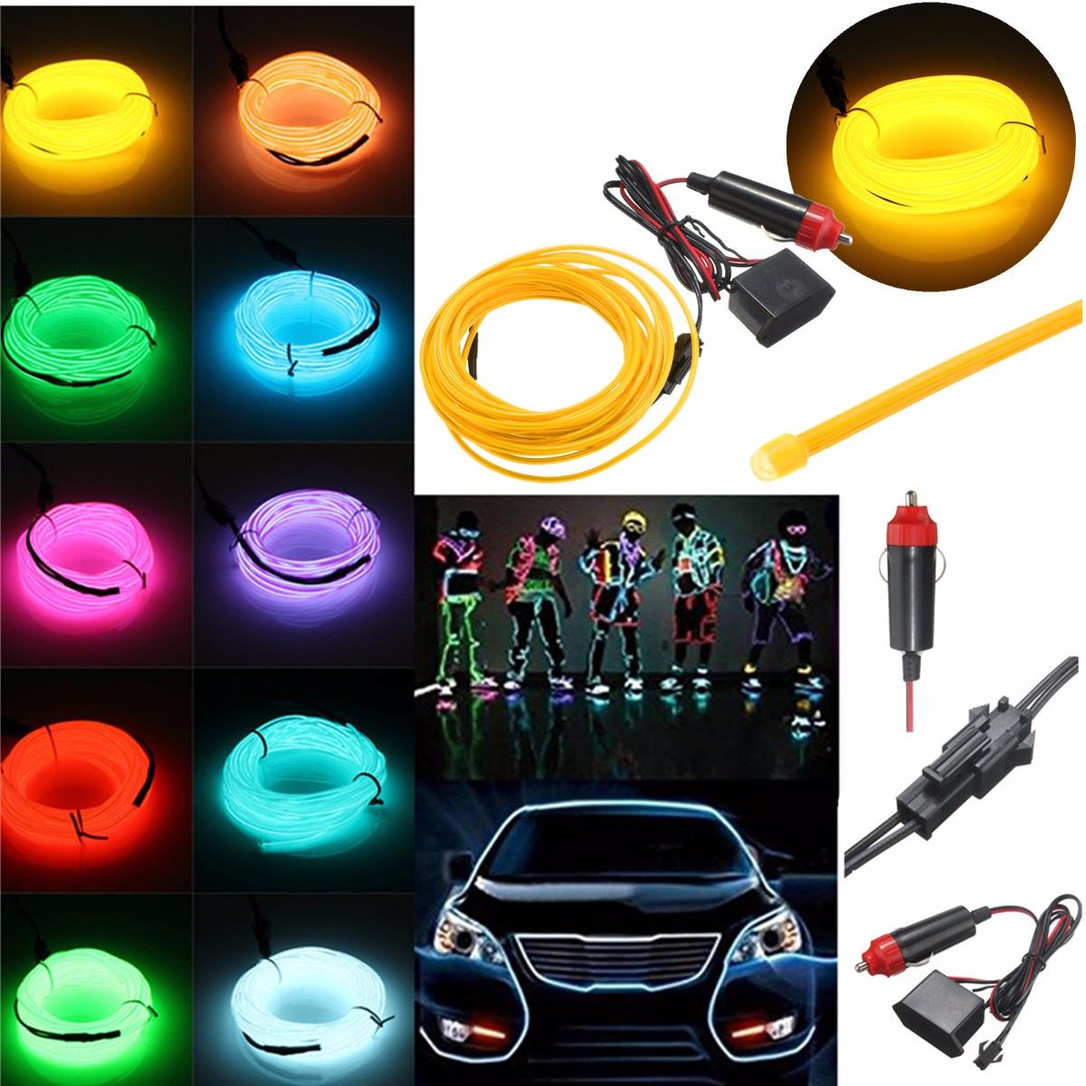 Newest 5M Multicolor Flexible EL Wire Rope Tube Strip Neon Cold Light Party Dance Car Decor With 12V Inverter(China (Mainland))