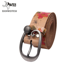 Buy DWTS Women belt ladies fower print luxury brand genuine leather belt female strap ceinture femme fashion jeans belts women for $11.87 in AliExpress store