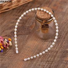 AWAYTR 1Pcs/lot Headband Wedding Pearl Hair Bands Hair Accessories Woman Rim Accessories Hot Sales Fashion White Solid Headwear