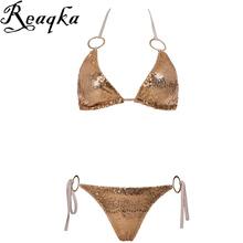 Sexy Bikinis Sequins Golden Color Women Bandage Bikini Set Push up Padded Bra Swimsuit Suit Swimwear Bathing suit women Monokini