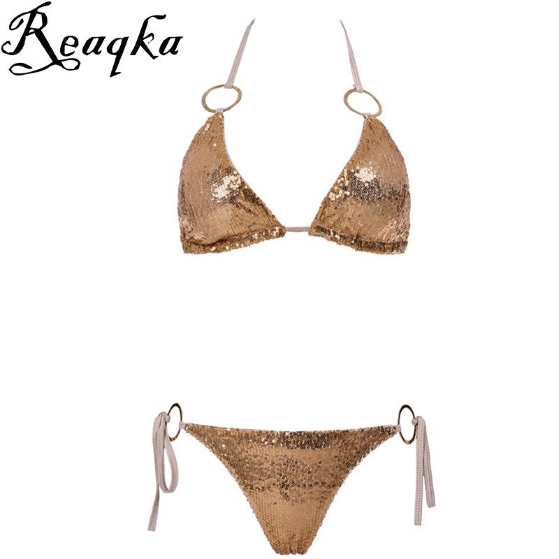 Sexy Bikinis Sequins Golden Color Women Bandage Bikini Set Push up Padded Bra Swimsuit Suit Swimwear Bathing suit women Monokini(China (Mainland))
