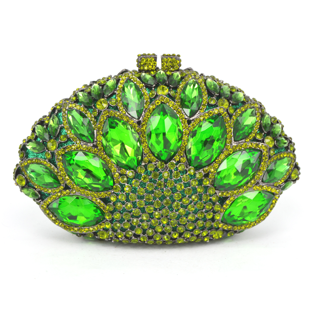 New Design Peacock Shape Evening Bag Green Stone Crystal Luxury Clutch Bag Diamond Ladies Handbags Party Purse Wedding Bag 88151(China (Mainland))