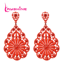 New Arrival Antique Blue Black Red Beige Color And Rhinestone Hollow Out Dangle Earrings For Women(China (Mainland))
