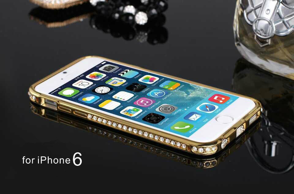 New 2014 Luxury Crystal Rhinestone Diamond Bling Case Cover Bumper For iPhone 6 4.7 inch Cell Phones cases Bumper Hot sale(China (Mainland))