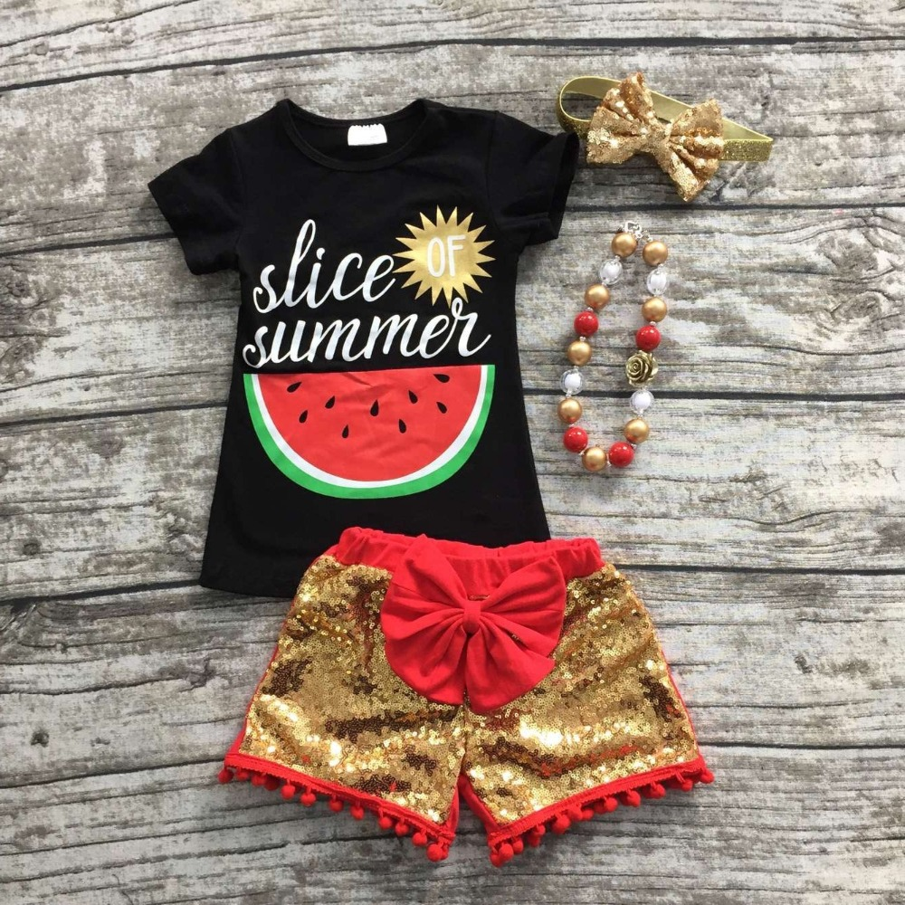 baby girls summer outfits watermelon clothes top black sequin shorts boutiques clothes with matching headband and necklace(China (Mainland))