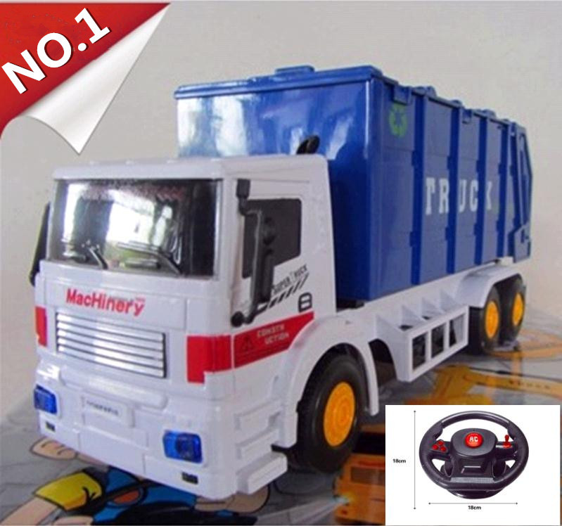 Remote control vehicle, 4-channel wireless remote control, steering wheel green garbage trucks,cars toys, free shipping(China (Mainland))