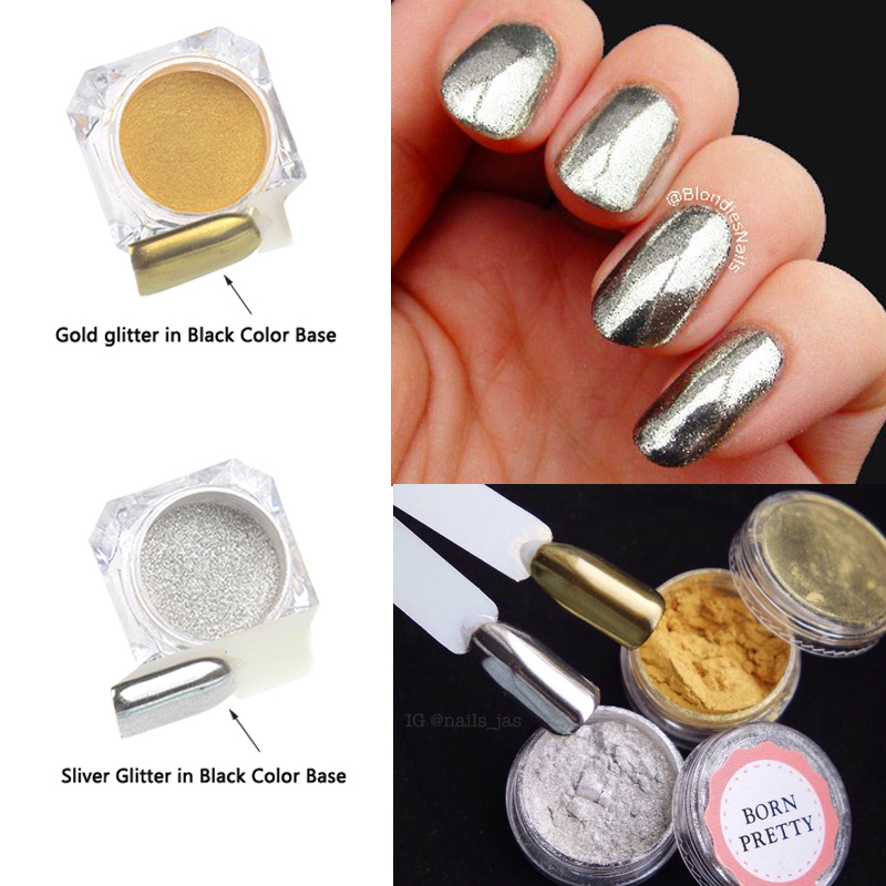 1g/Box Mirror Nail Glitter Powder Shinning Sliver Gold Glitters Nail Art Chrome Pigment Nail Dust Set for DIY Decorations