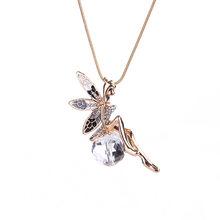 LNRRABC ผู้หญิงคริสตัล Fairy Rhinestones Angel ปีกยาว CHAIN จี้สร้อยคอสร้อยคอสร้อยคอแฟชั่น(China)