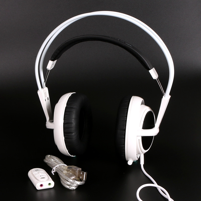 White Color Headset Steelseries Siberia V2 Brand Noise Isolating Game Headphones For Headphone Gamer + sound card(China (Mainland))