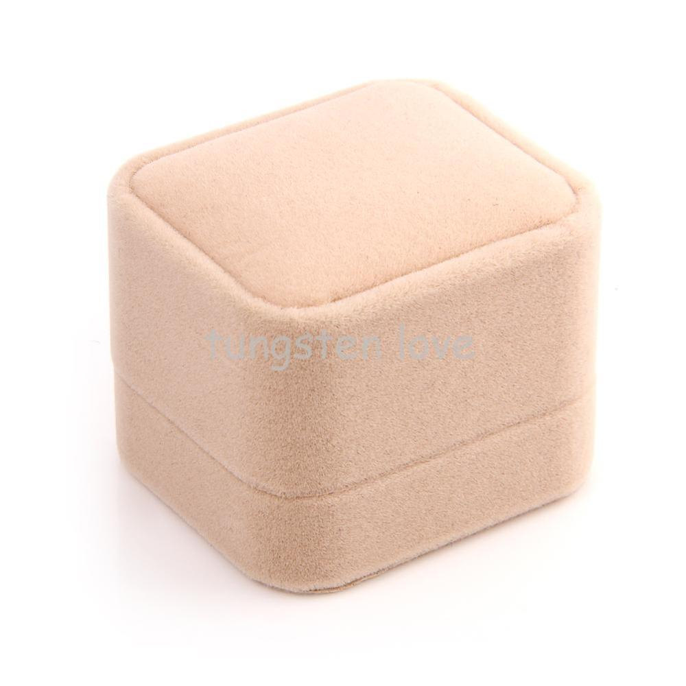 Gorgeous High Quality Velvet Earrings Ring Jewelry Gift Box Case, Size 6*5.2*4.5 cm Beige color - 1PCS(China (Mainland))