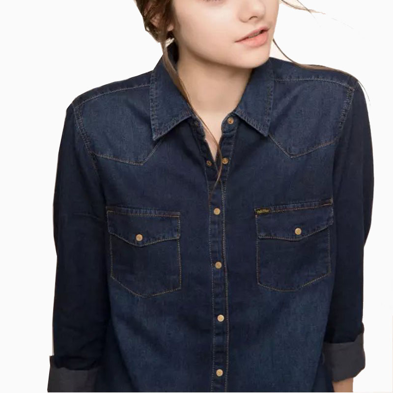 Ladies denim shirts long sleeve dark blue jeans shirt for Blue denim shirt for womens