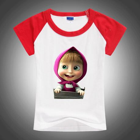 Новое поступление хлопка с коротким рукавом футболки, Маша и медведь футболки, Мультфильм игры мальчиков девочки футболки свободного покроя одежда