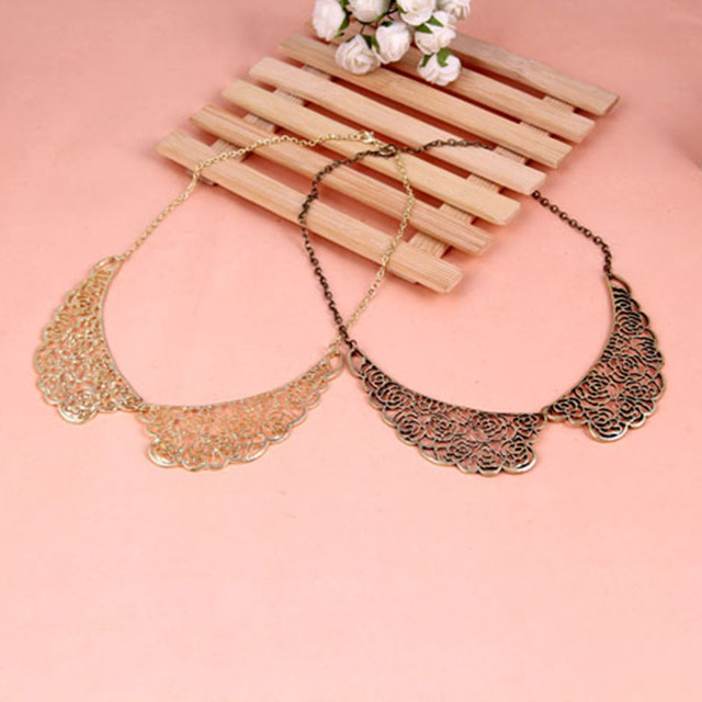 Fashion Vintage Hollow Out Rose Flower Fake Collar Short Chain Necklace  N1042 N1043