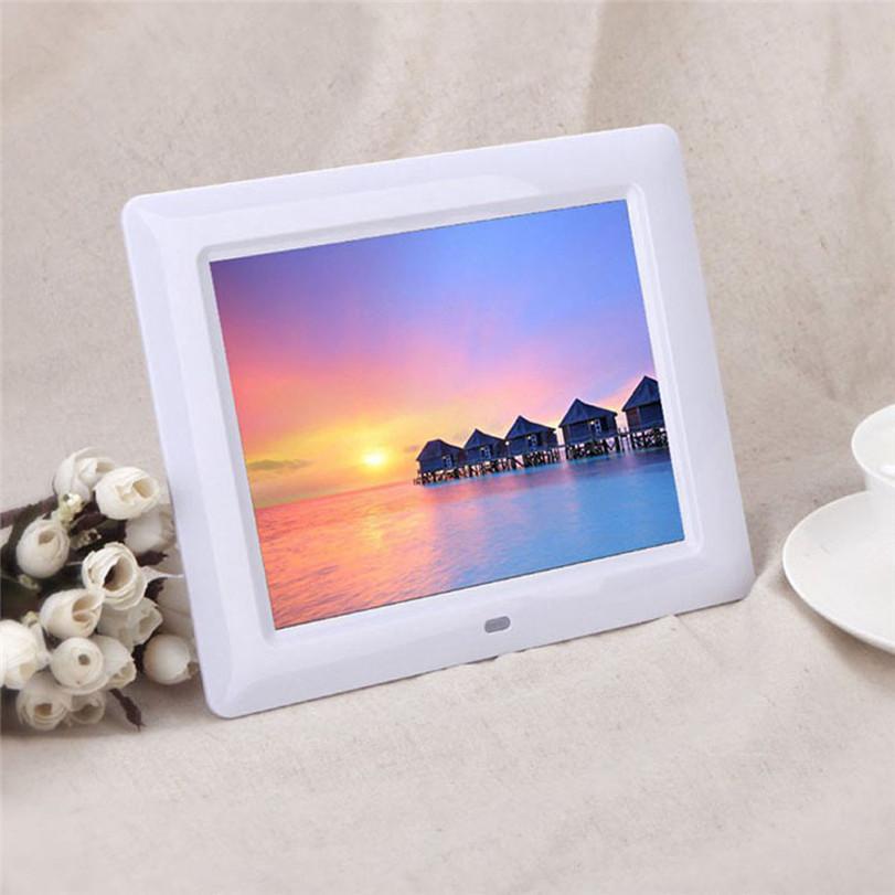 "Hot-sale UK Plug 20.5 * 14 * 2cm 7"" HD TFT-LCD Digital Photo Frame with Alarm Clock Slideshow MP3/4 Player Gifts Wholesale"