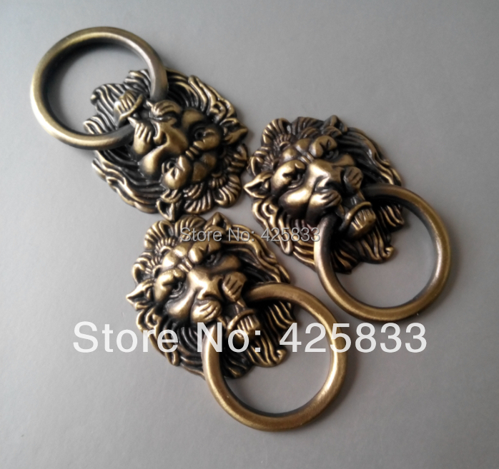 Free Shipping 10pcs Antique Bronze Cartoon Lion Head Cabinet Handles Knobs Drawer Pulls Closet Drawer Door Hardware(China (Mainland))
