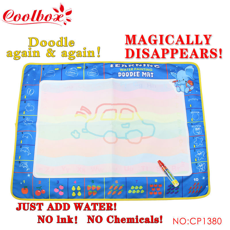 Free shipping CB1380 80X60cm Big Size Funny Drawing Toys Colorful Baby Water Doodle Mat with 1 Magic Pen(China (Mainland))