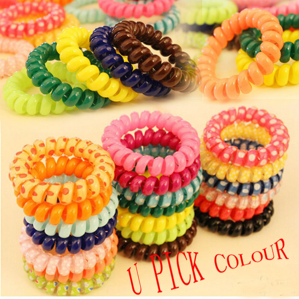 118 colors U choose telephone wire style Hair stretchy band Ponytail Holders Scrunchies Ponies rope - Enjoy Sweet Life store