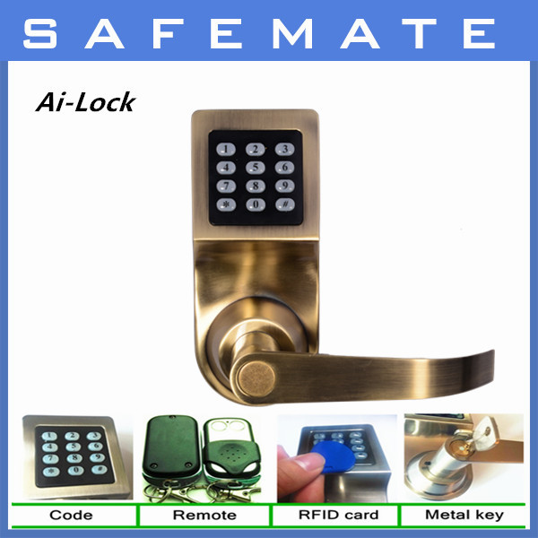 wholesale price high quality electronic door lock with metal key/ID card/remote control/password(China (Mainland))