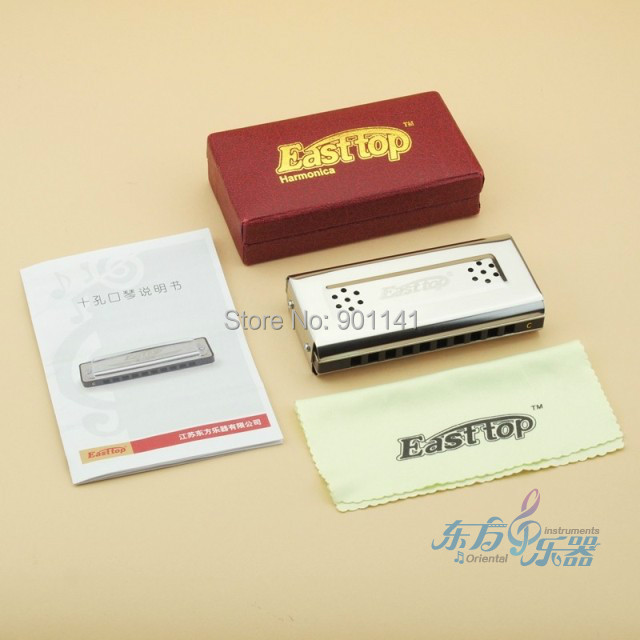 East Top 10holes  double faced double tones harmonica free shipping<br><br>Aliexpress