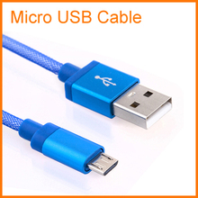 1M Braided Micro USB Cable Coiled Charger Data Cable For Samsung Galaxy Cell Phones 6 Colors Available(China (Mainland))