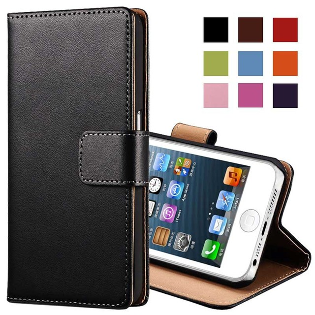Real Genuine Leather Case for iPhone 5 5S Flip Stand Design Phone Back Cover Wallet with Card Slot Book Style Black Brown White