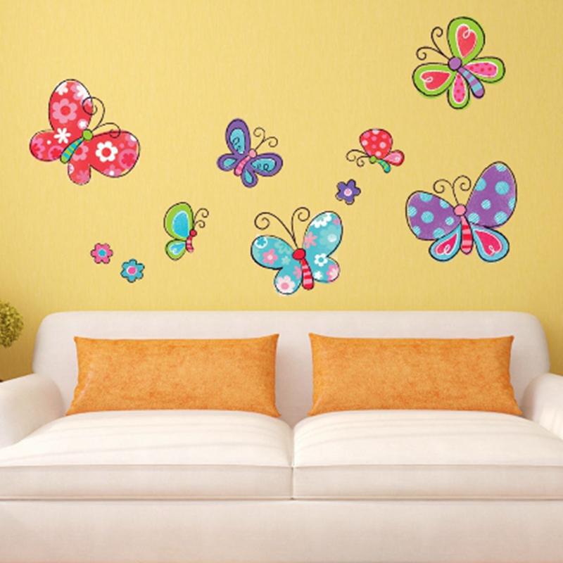 Cuadros lindos insecto de la historieta mariposa de la for Pegatinas decoracion bebe