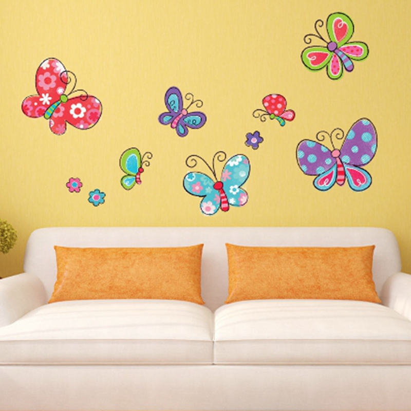 Cute pictures, cartoon insect, cartoon butterfly, baby room decor, children's gifts, wall stickers home decor jm8379(China (Mainland))